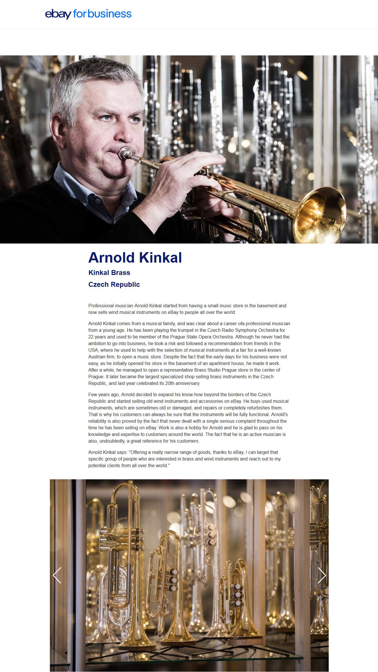 Arnold Kinkal - článek na eBay.com
